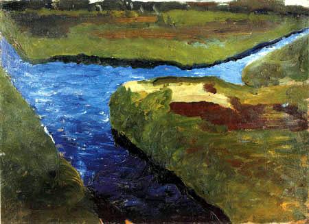 paula modersohn-becker, paysage de fleuve , reproduction par reproarte