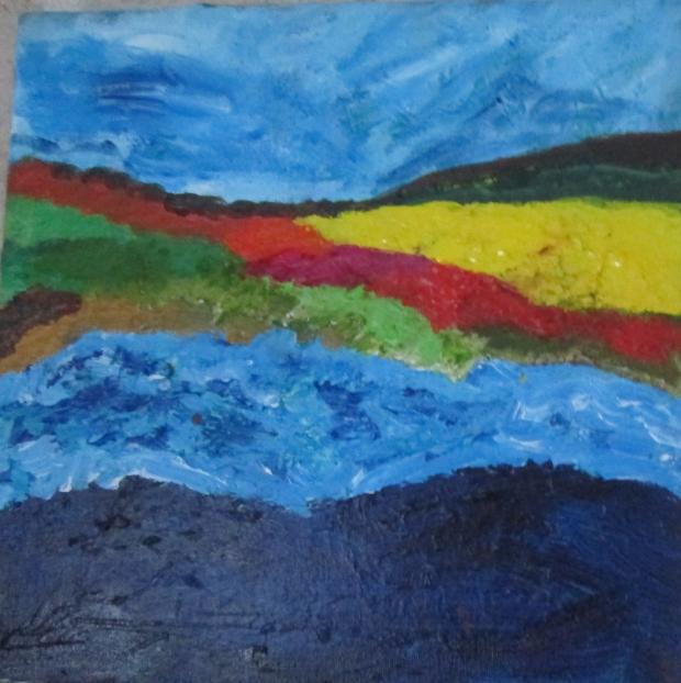 Paysage, version 4, Huguenot stéohanie, acrylique sur toile,,30cmx30  cm, 2016