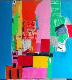 Frontières, , Stéphanie Huguenot, techniques mixtes, 70 x 70 cm, 2006