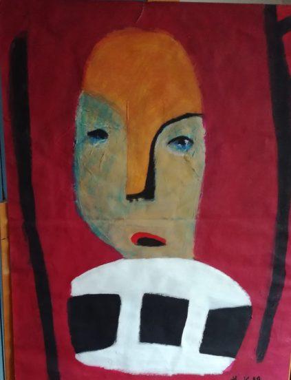 Masque sur font rouge III, huguenot stéphanie, 65 x 50 cm ,acrylique sur papier, 1998