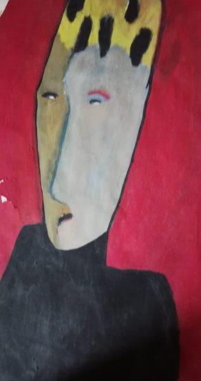 Masque sur font rouge II, huguenot stéphanie, 65 x 50 cm ,acrylique sur papier, 1998