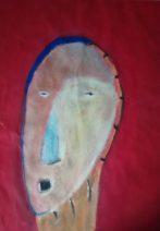 Masque sur font rouge, huguenot stéphanie, 65 x 50 cm ,acrylique sur papier, 1998
