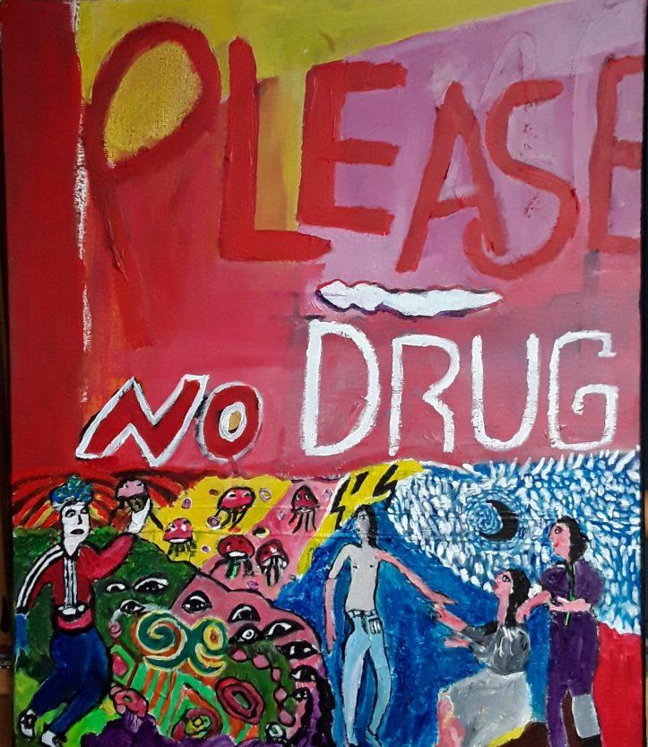 Please no Drug ,2017,Huguenot Stéphanie, acrylique sur toile, 55 x 45 cm