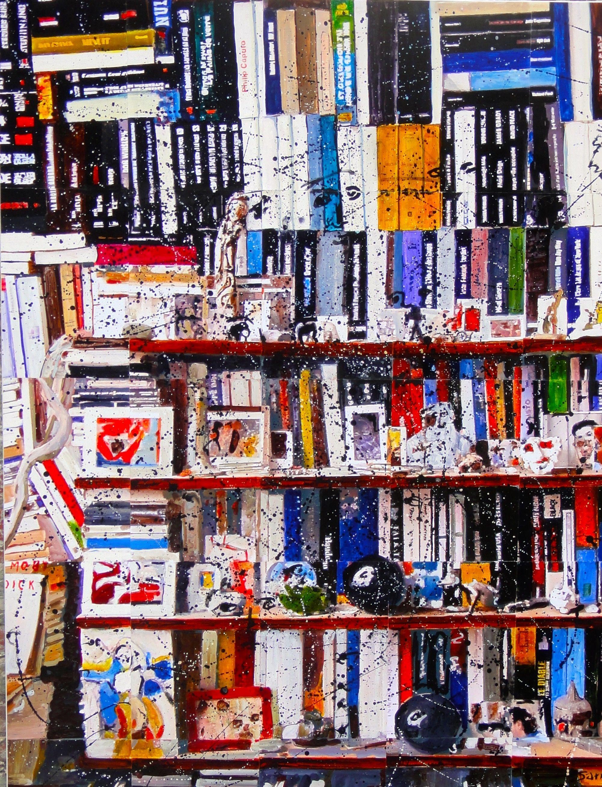 Les bibliothèques un sujet que le peintre affectionne
